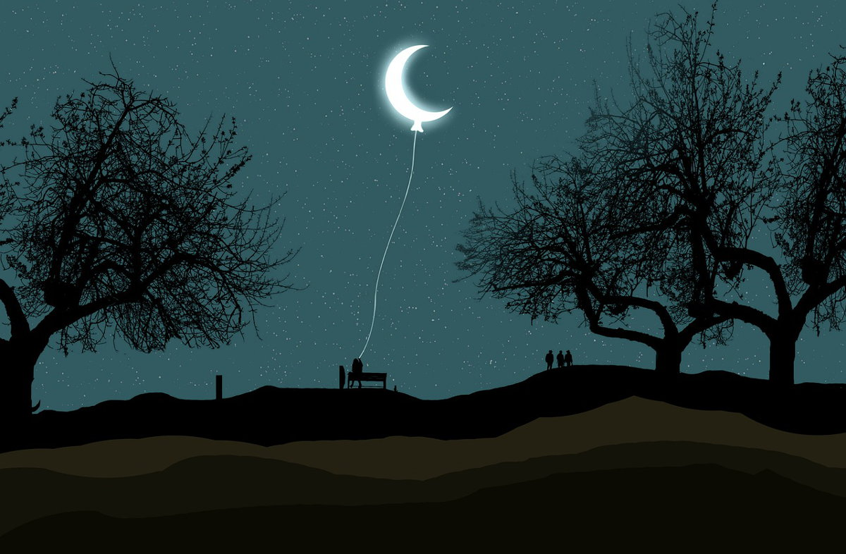 Una persona tiene la luna al laccio come se fosse un palloncino