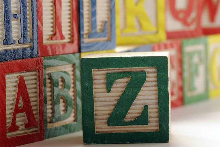 La lettera Z in un blocco verde