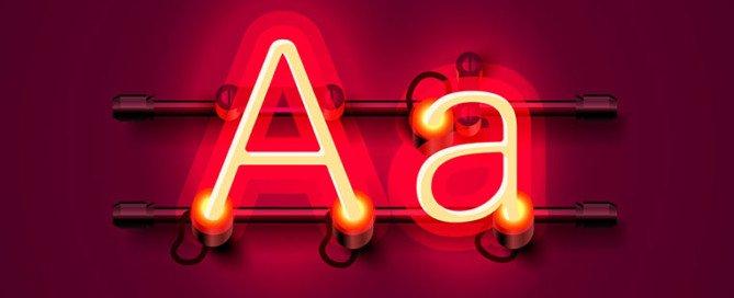 lettera A come insegna al neon rossa sia in maiuscolo che in minuscolo
